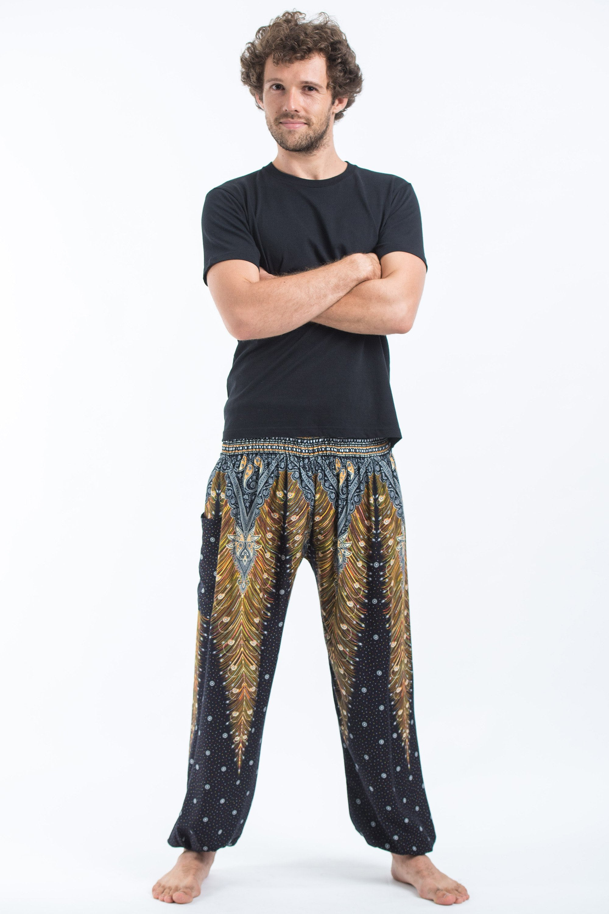 8f0ba0937c9 Details about Harem Pants Unisex Peacock Feather High Cut Rayon Yoga  Trousers Bottoms